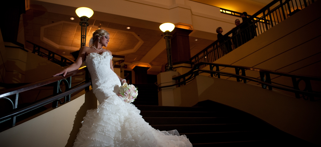 Beautiful bride on our staircase